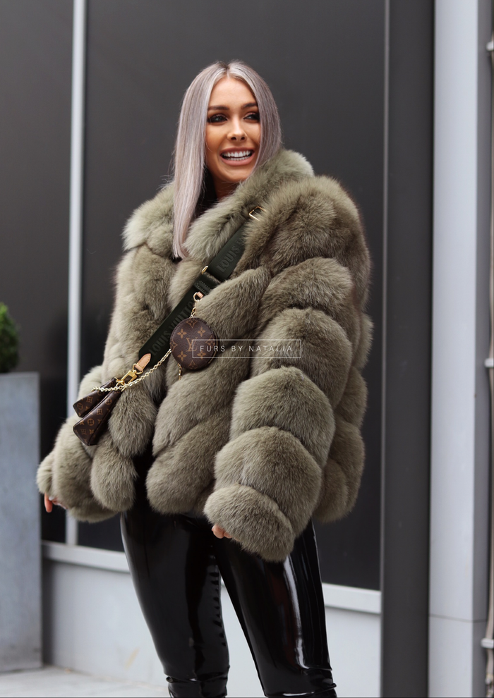 Chevron Fox Fur Coat