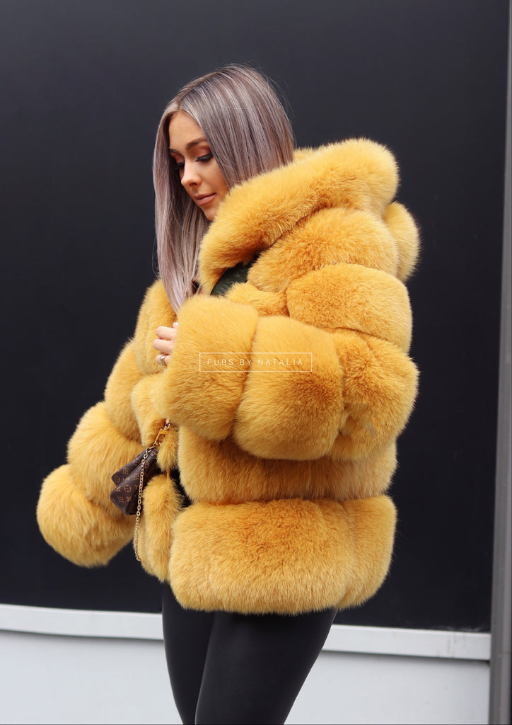 Chunky Hooded Fox Fur Coat