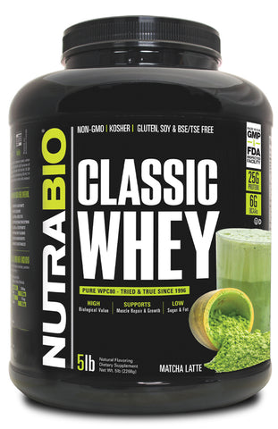 NutraBio Classic Whey Protein WPC80 - 5lbs