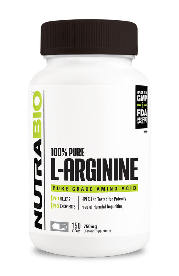 NutraBio Arginine (750mg) - 150 Vegetable Capsules ( Expiry: Sept 2021 )