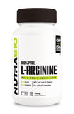 NutraBio Arginine (750mg) - 150 Vegetable Capsules