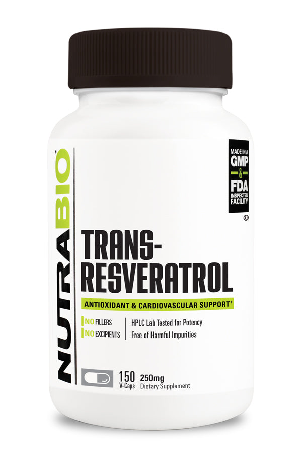 NutraBio Trans-Resveratrol (250mg) 150 Vegetable Capsules