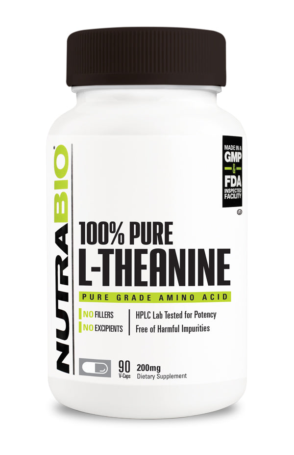 NutraBio L-Theanine (200mg) - 90 Vegetable Capsules