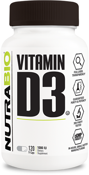 NutraBio Vitamin D (1000 IU) 120 Vegetable Capsules
