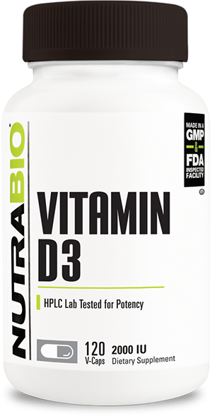 NutraBio Vitamin D (2000 IU) 120 Vegetable Capsules