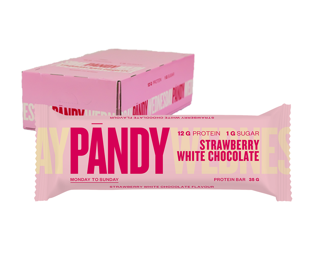 Pandy Protein Bar Strawberry White Chocolate Bar ( 1 box of 18 pcs ) Expiry 2021