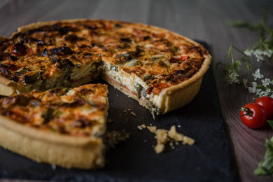 Leek, Tomato & Cheese Quiche (v)