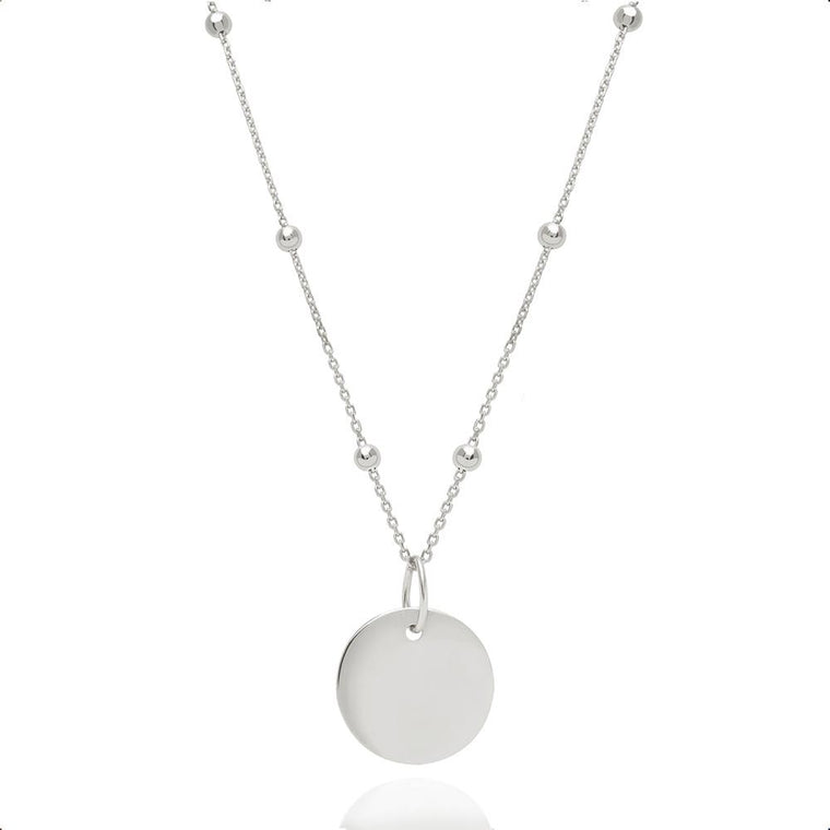 Astrid & Miyu - Basic Coin Necklace - White Gold