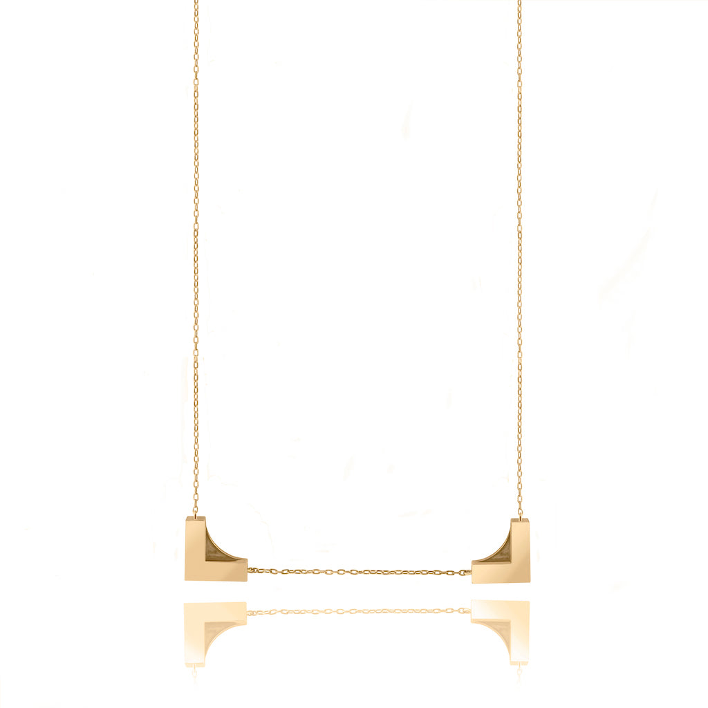 Astrid & Miyu - Fine Line Frame Necklace - Gold