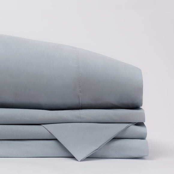 American Made 100% Cool Flow Cotton Sheet Set - Blue Mist
