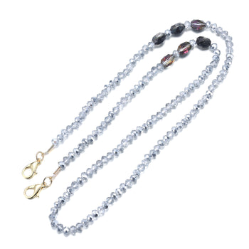 CRYSTAL GLORIA MASK CHAIN - Clear and Misty Purple Crystals