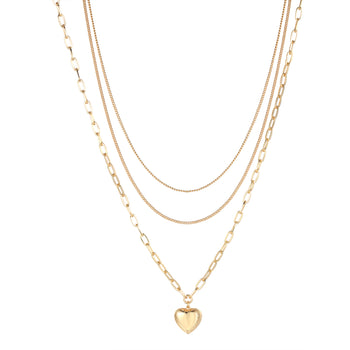Adalyn Heart Shape Necklace in Gold - Layered Style