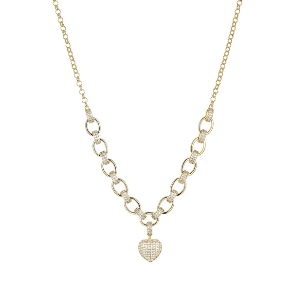 Adalyn Heart Shape Necklace in Gold with Cubic Zirconia