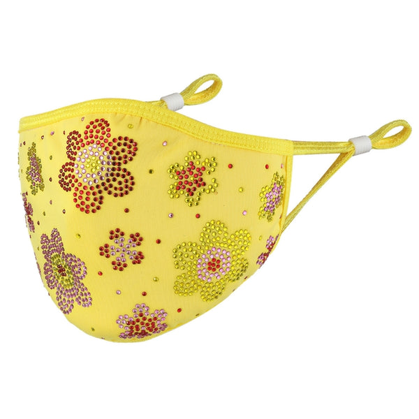 DESTINY CRYSTAL FLOWER FACE MASK - YELLOW