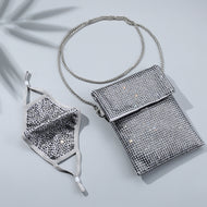 JESSIE GREY & GREY CRYSTAL 2 STRAP CROSS BODY PURSE WITH *FREE MATCHING DESTINY MASK