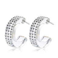 Leona Transparent Floating Crystal Hoop Earrings