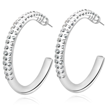 Ziana Transparent Floating Crystal Large Hoop Earrings
