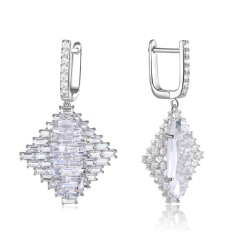 Audrey White Stone & Baguette CZ Earrings