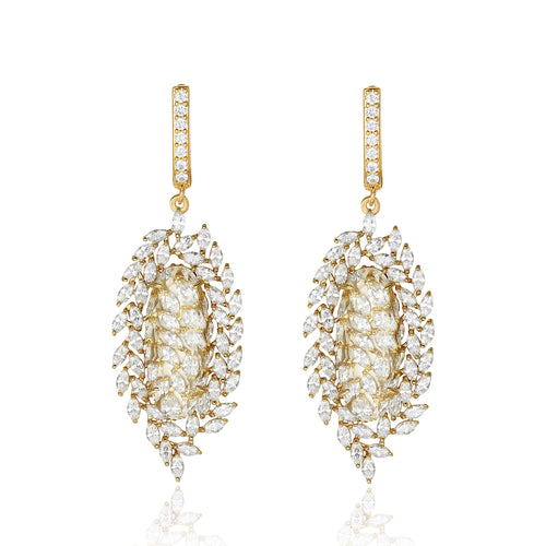 Valencia Gold White Stone & Designer Shape CZ Earrings