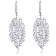 Valencia White Stone & Designer Shape CZ Earrings