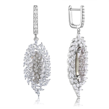 Valencia Light Grey Stone & Designer Shape CZ Earrings