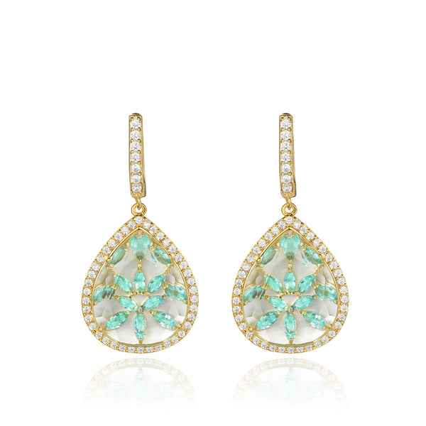 Briana Gold Clear Stone with Blue CZ Backing Earrings