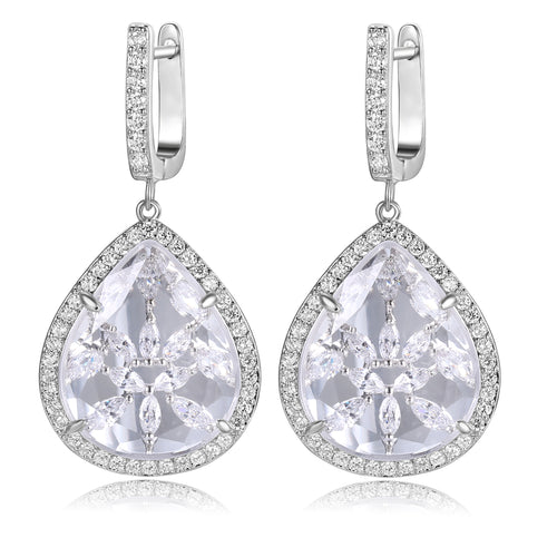 Briana Clear Stone with CZ Backing Earrings