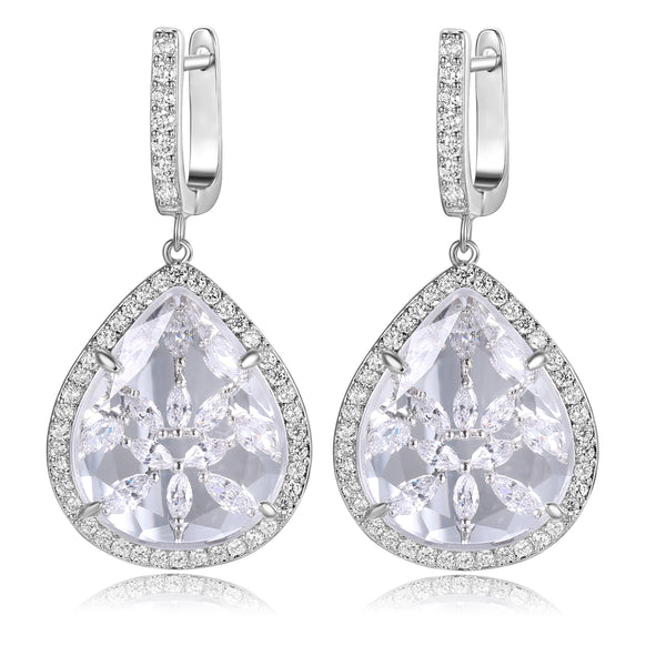 Braina Clear Stone with CZ Backing Earrings