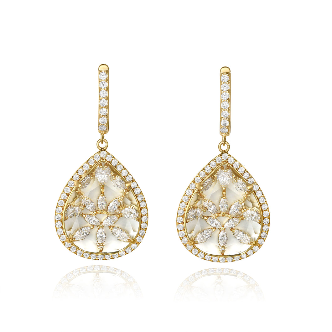 Briana Gold Clear Stone with CZ Backing Earrings