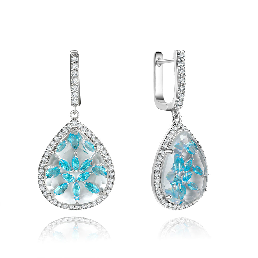 Briana Clear Stone with Blue CZ Backing Earrings