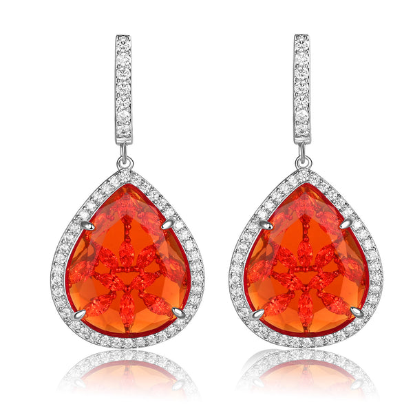 Braina Red Stone with CZ Backing Earrings