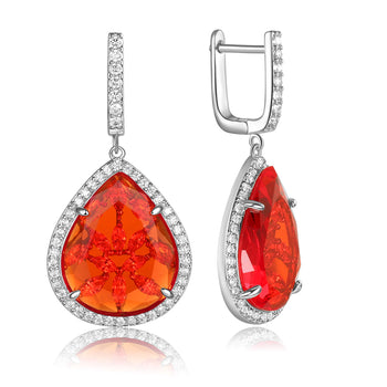 Briana Red Stone with CZ Backing Earrings