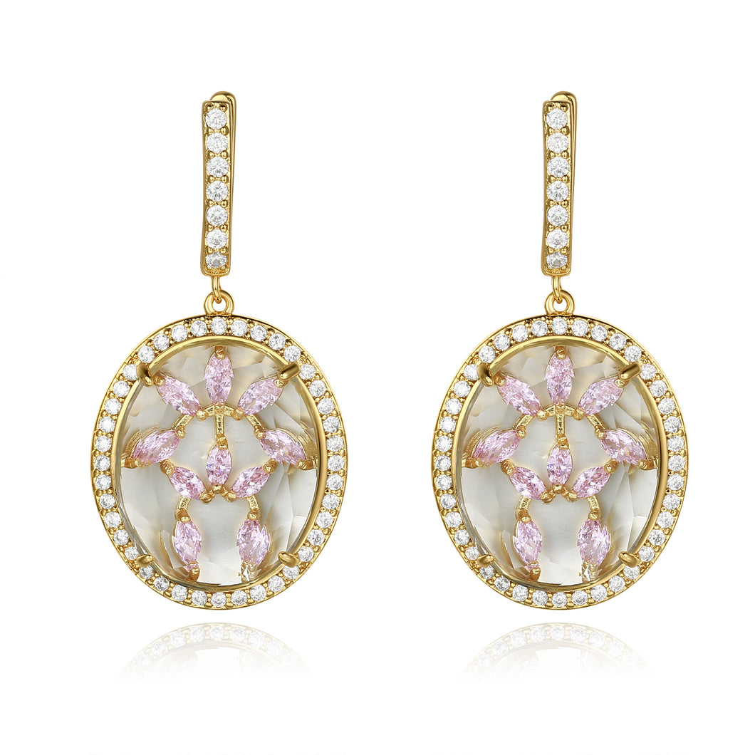 Zippora Gold Clear Stone with Pink CZ Backing Earrings