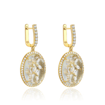 Zippora Gold Clear Stone with CZ Backing Earrings