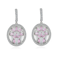 Zippora Clear Stone with Pink CZ Backing Earrings