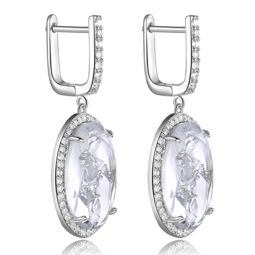 Zippora Clear Stone with CZ Backing Earrings