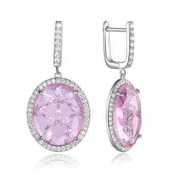Zippora Light Pink Stone with CZ Backing Earrings
