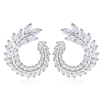 Trudy Earrings in White Crystal - Medium Size