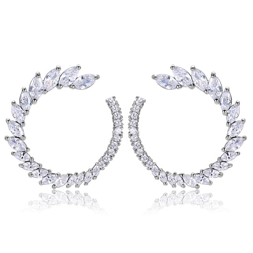 Trudy Earrings in White Crystal - Large Size