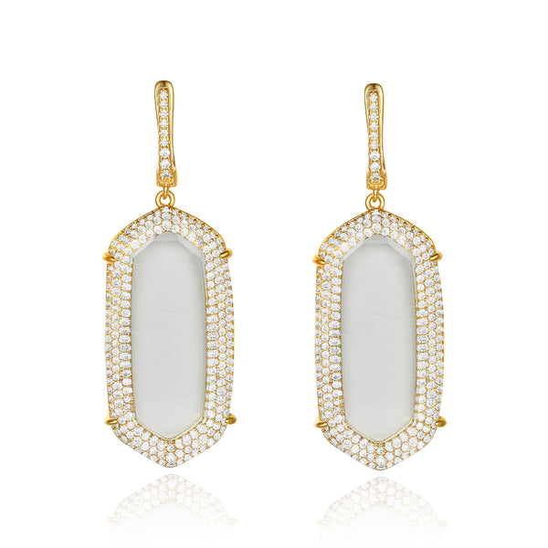 Gold Adelia Earrings with Clear Crystal