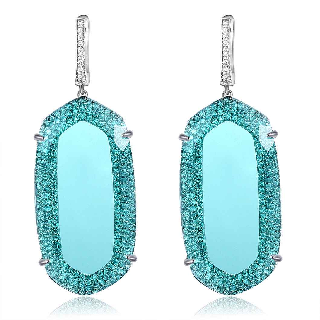 Adelia Earrings with Light Turquoise Crystal