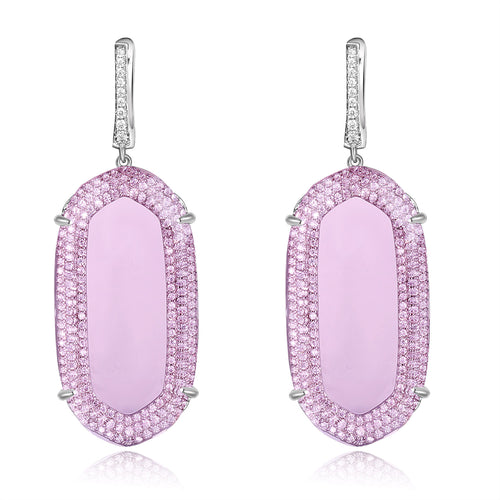 Adelia Earrings with Light Pink Crystal