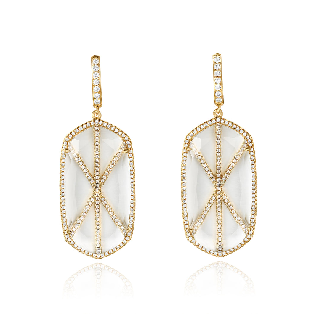 Valda Gold Earrings with Clear Crystal