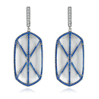 Valda Earrings with Blue CZ