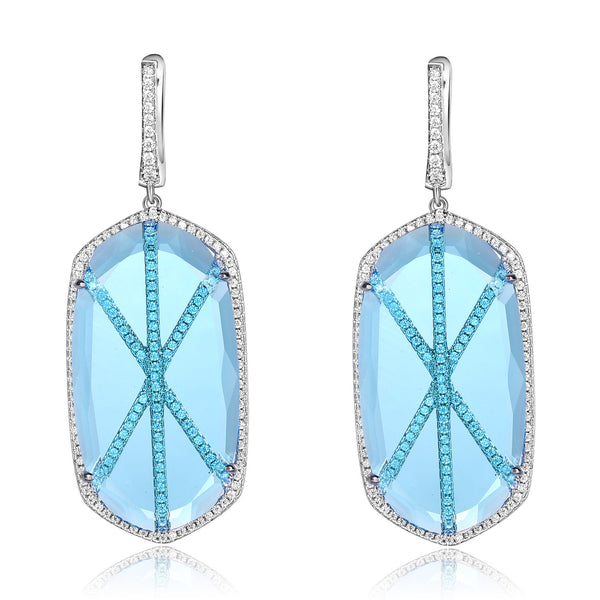 Valda Earrings with Light Blue Crystal