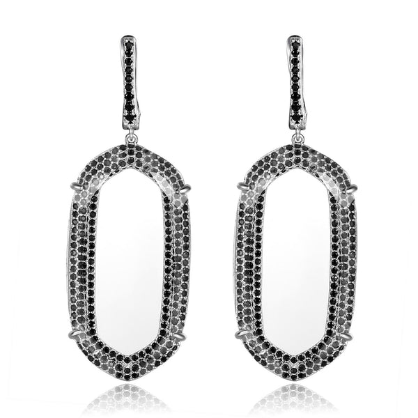 Everly Earrings with Clear Crystal & Black Cubic Zirconia