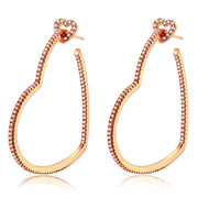 Milena Rose Gold Heart Hoops