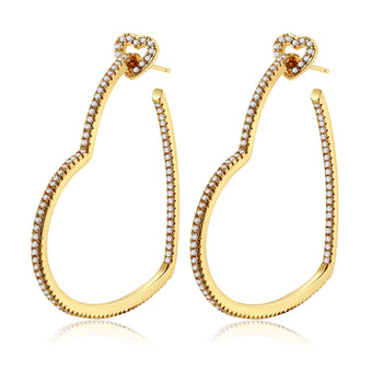 Milena Gold Heart Hoops