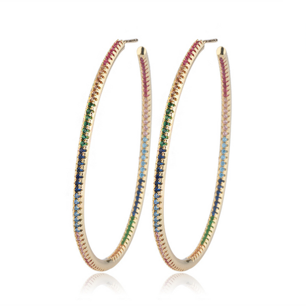 Lucy Gold Colorful Hoops