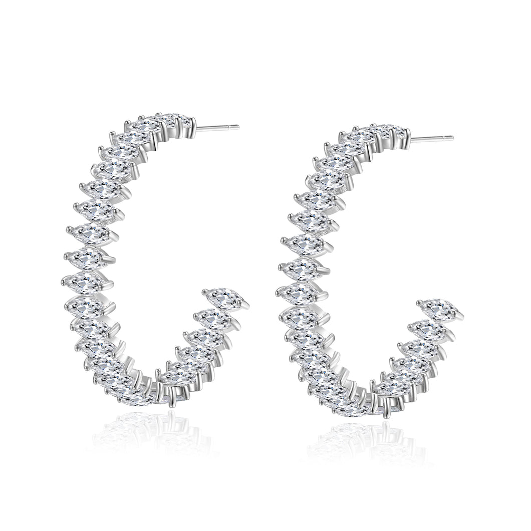 Felicia Marquise Cubic Zirconia Hoop Earrings